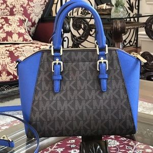 mk ciara saffiano brown and blue never used